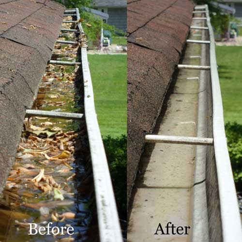Gutter cleaning, before and after