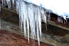 Ice buildup on eaves